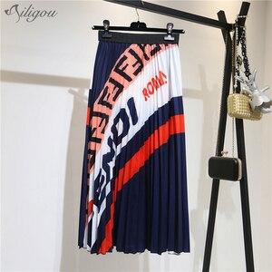 Ailigou 2020 nowe letnie spódnice damskie Sexy Fashion spódnice trapezowe list drapowana spódnica Vestidos Chic Club wieczorowe spódnice na przyjęcie