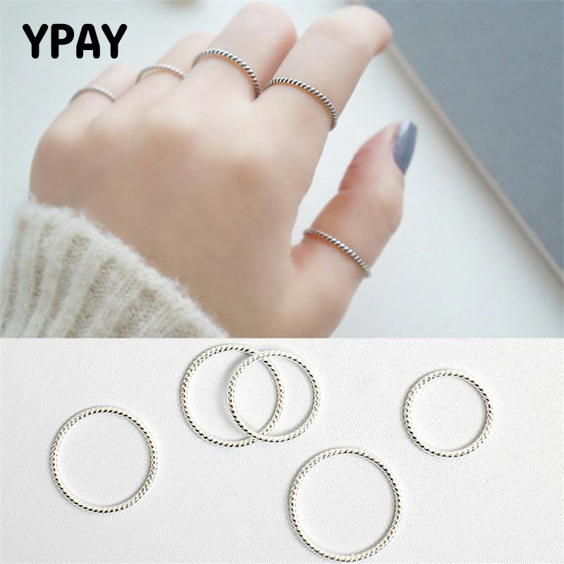 YPAY 100% Genuine 925 Sterling Silver Finger Rings For Ladies Girls Simple Personality Twist 1.2mm Korean Ring Jewelry YMR551