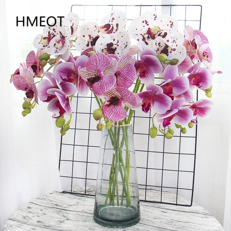 Weiß Orchidee Künstliche Blumen Real Touch Schmetterling Motte Topf Latex Orchidee Pflanzen Baum Dekor Für Hochzeit Hause Festival
