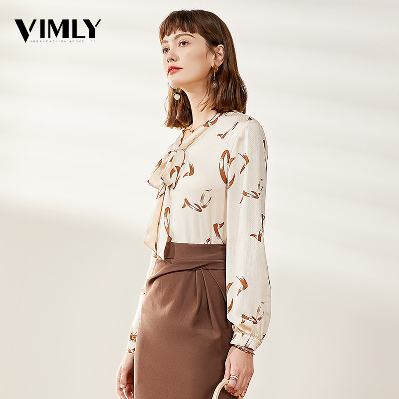 Vimly Women Chiffon Print Tie Bow Blouse Shirts Office Ladies Spring Long Sleeve Blouses Female Casual Sweet Tops