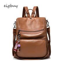 Vfemage High Quality Leather Backapck Women Multifunction Backpack Lady Fashion Daypack Anti Theft For Sac A Dos