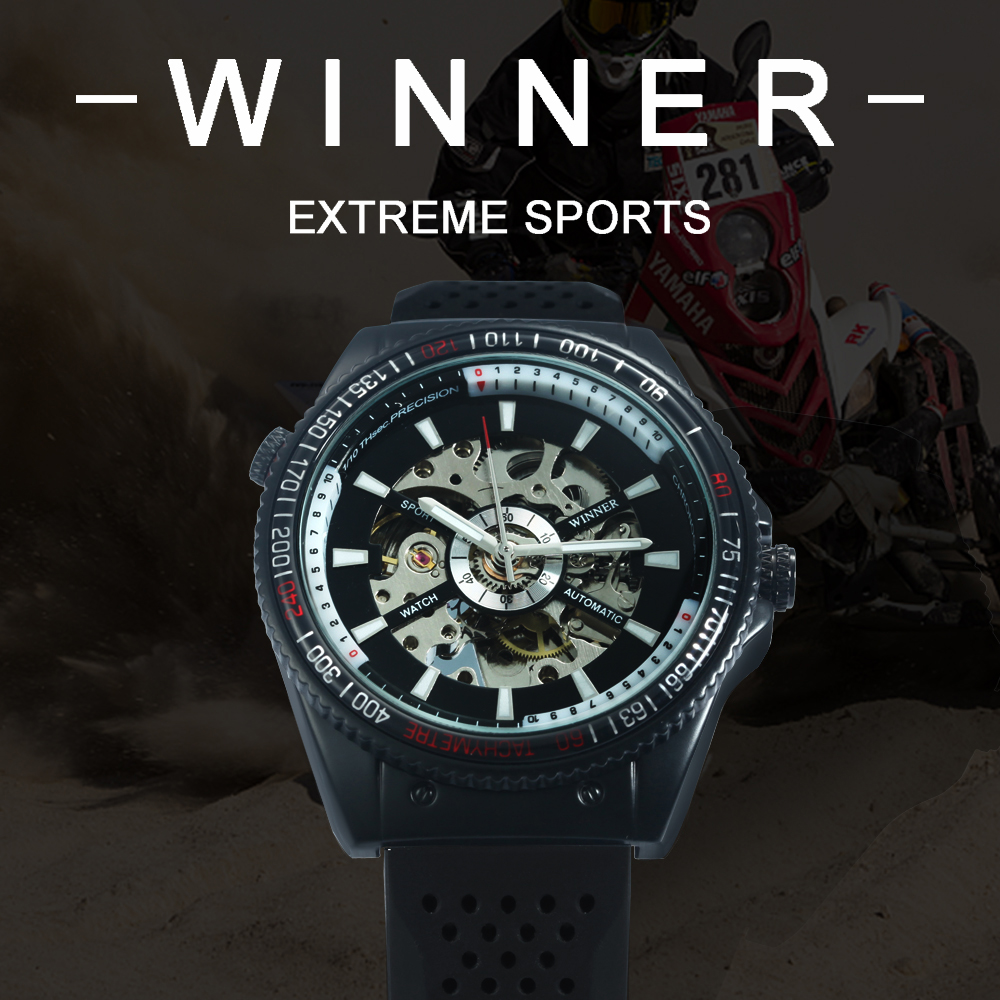 WINNER Official Sports Mens Automatic Watches Top Brand Luxury Silicone Strap Casual Skeleton Mechanical Watch Men 2020 NEW