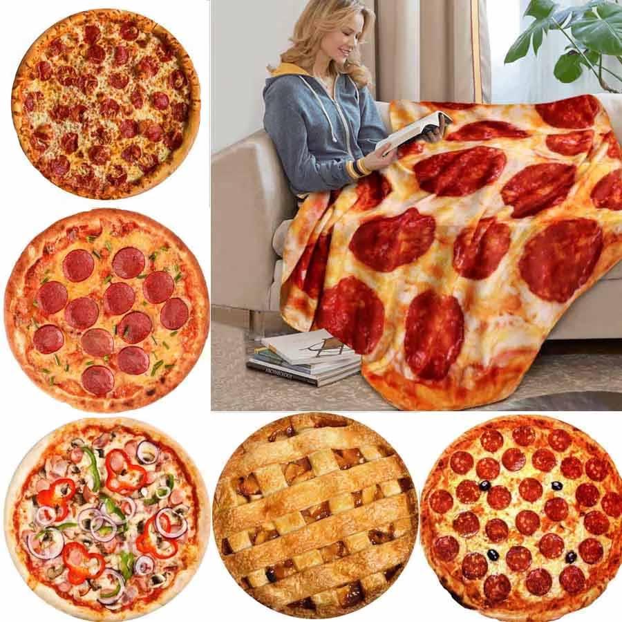 WOSTAR Soft warm flannel tortilla pizza blanket 200Gsm round shape donut airplane travel portable wearable winter throw blanket