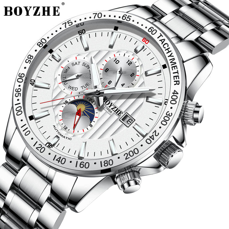 Three Dial Calendar Display Mechanical Watch Stainless Steel Men Automatic Wrist Watch Top Brand Luxury Military Sport Men Clock