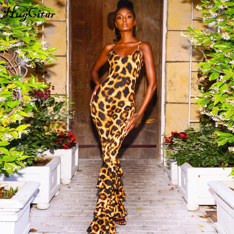 Hugcitar 2019 Leopard Spaghetti Straps Ruffles Backless Jumpsuit Bell Bottom Pants Autumn Winter Women Streetwear Leopard Body