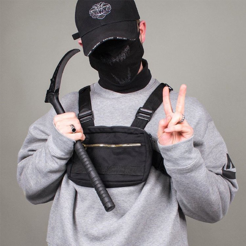 Small Men Chest Rig Bag Streetwear Outdoor Sports Waist Bag Military Waterproof Shoulder Bag Phone Money Belt Tactical Chest Bag