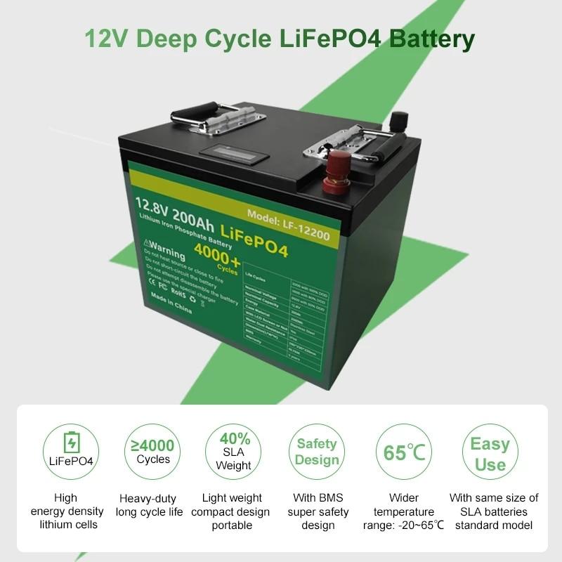 12V 200Ah LiFePO4 Batterij Pack Met Bulit Bms 2400Wh Lithium-ijzerfosfaat Lifepo4 Batterij Voor Rv Golf auto Kampeerders Geen Belasting 3