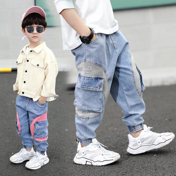Casual Kids Cargo Jeans for Boys Elastic Waist Denim Pants Cowboy Cargo Pocket Jeans Pants Baby Boys Solid Color Sport Trousers boys solid tee with rolled hem jeans