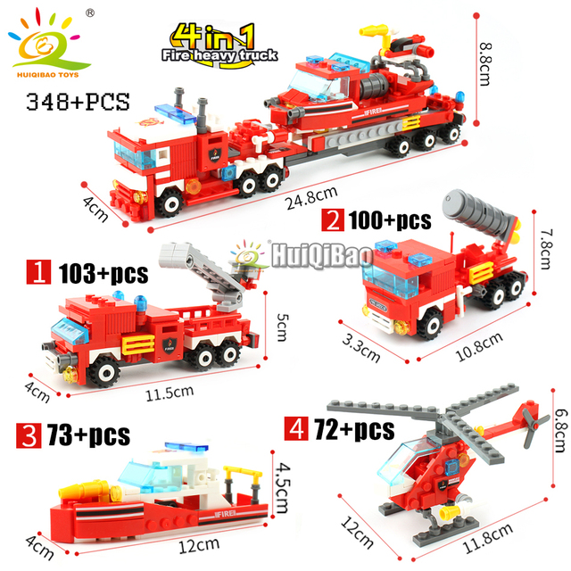 348pcs Fire Fighting 4in1 Trucks Car Helicopter Boat Building Blocks 2