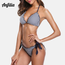 Anfilia Women Bikini Set Striped Swimsuit Halter Swimwear Side Bandage Bathing Suit Beachwear Sexy Bikini crisscross halter bikini set