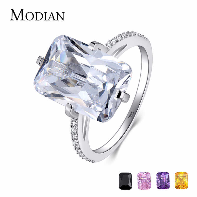 Modian 100% 925 เงินสเตอร์ลิงรูปสี่เหลี่ยมผืนผ้า 5A CLEAR Zircon Luxury แหวนครบรอบหมั้นเครื่องประดับสำหรับแหวนแฟชั่นผู้หญิง