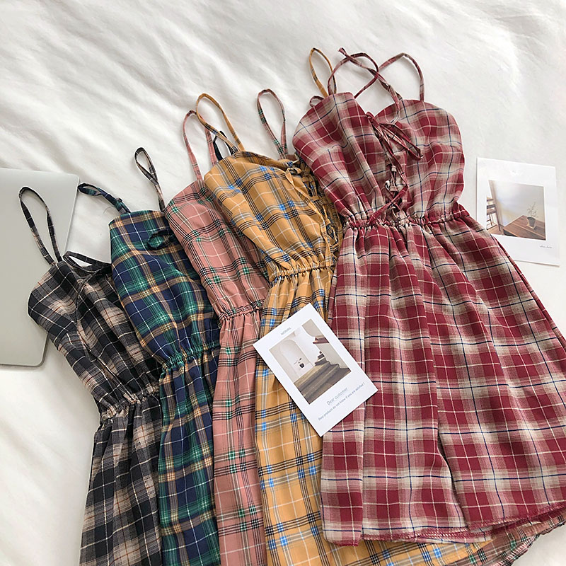 Women Sleeveless Plaid Dress Vintage Summer Strap Sundress Korean Style Lace Up Cami Dress Casual A-Line Short Dress G1372