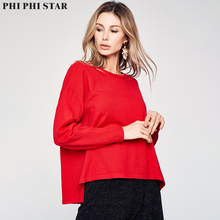 Phi Phi Star Brand Women long Full Sleeve Red Sweaters Knitted Sweater Pullover Ladies Fashion Thin Loose Sweater Round collar цены