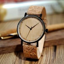 Деревянные часы BOBO BIRD, мужские часы с пробковым ремешком, деревянные часы, ультратонкие часы для мужчин и женщин, мужские часы, Прямая поставка
