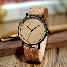 ボボ鳥の木製腕時計男性コルクストラップ木製quarzt腕時計超薄型男性女性のための時計レロジオfemininoドロップ無料