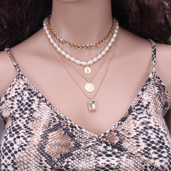 Geometric Layered Pearl Necklace  1