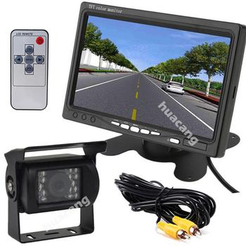 """12V-24V 7"""" TFT LCD HD Rear View Monitor Waterproof Night Vision Reverse Camera for Truck Harvester Trailers"""