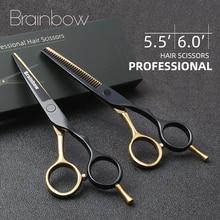 Brainbow 5.5' /6.0' Professional Hair Scissors Japan Hairdressing Barber Scissors Thinning Cutting Shears Haircut Hair Style