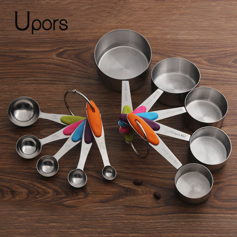 UPORS Stainless Steel Measuring Cups And Spoons Set Stackable Tablespoons Kitchen Measuring Spoon Measuring Cup
