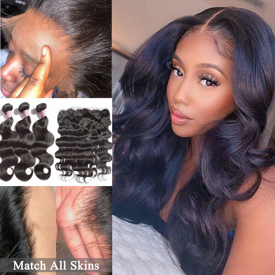 Fabwigs Real HD Lace Frontal With Bundles Body Wave Bundles With Frontal Brazilian Hair Weave Bundles With Lace Frontal Closure