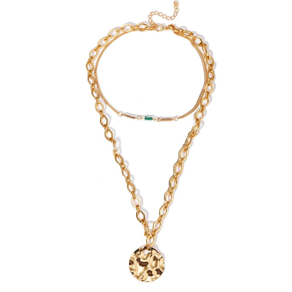 Многослойный Кристалл лунные ожерелья и кулоны для женщин винтажное очаровательное Золотое колье ожерелье богемное ювелирное изделие - Окраска металла: CS5253