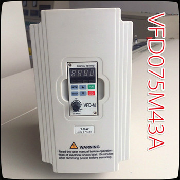цена на 7.5KW 380V VFD075M43A Delta Inverter   3 Phase 380V Rated 18 A 100% New 7500W VFD Series Invertor Variable Speed AC Motor Drive