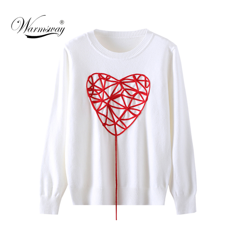 Women Autumn Winter Sweater 2020 Long-sleeved O-Neck Love Knitted Sweater One Size CY-001