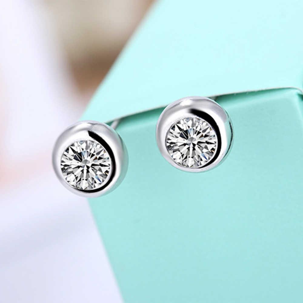 925เงินสเตอร์ลิงต่างหูสตั๊ดสีขาว Zircon ต่างหู Micro Inlay Cubic รอบ Zirconia Stud ต่างหูสำหรับผู้หญิงเครื่องประดับของขวัญ