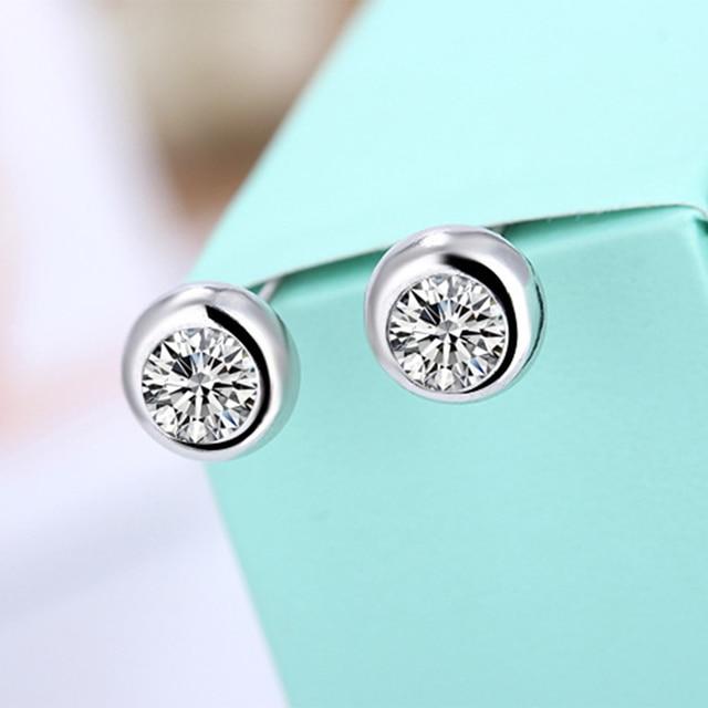 925 sterling silver earrings stud white zircon earrings Micro Inlay cubic zirconia stud earrings 3