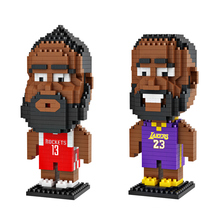 цена Nbain Basketball Player Mini Building Micro Blocks Figure Nano Diamond Bricks Toys DIY Educational Model Harden Curry Kobe James онлайн в 2017 году