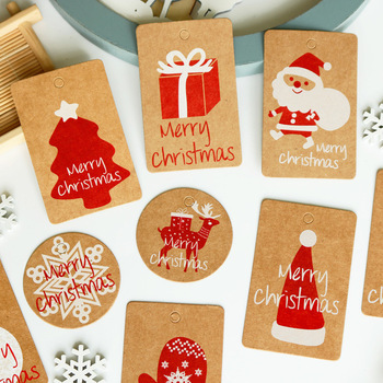 50PCS Christmas Style Kraft Paper Tags Handmade DIY Hang Tag Gift Box Wrapping Paper Candy Dragee Cupcake Supplies Labels image