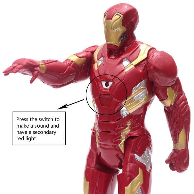 30CM Marvel Figure Avengers Endgame capitaine Justice son lumière LED Super héros poupées jouets PVC Action figurine modèle jouet enfants cadeau
