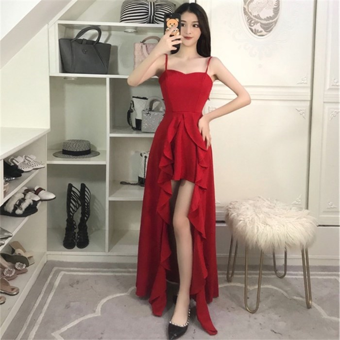 Long Skirts Women's Summer High Quality New Style Dress For Toast Bride Slim Fit Sexy Banquet Nobility Elegant Red Evening Dress