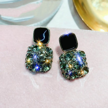 statement earrings for women 2019 black square luxurious crystal  gift wedding