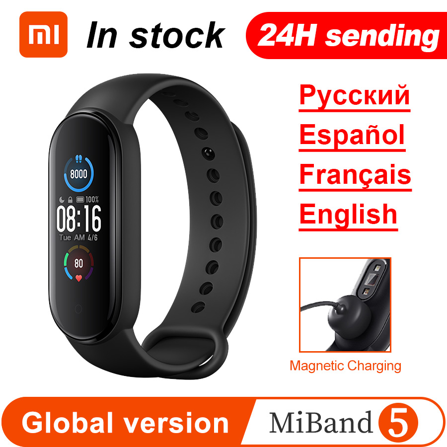 Xiaomi Mi Band 5 Smart Armband 4 Farbe 1.1 AMOLED Bildschirm Miband 5 Herz Rate Fitness Tracker Bluetooth Wasserdicht smartband
