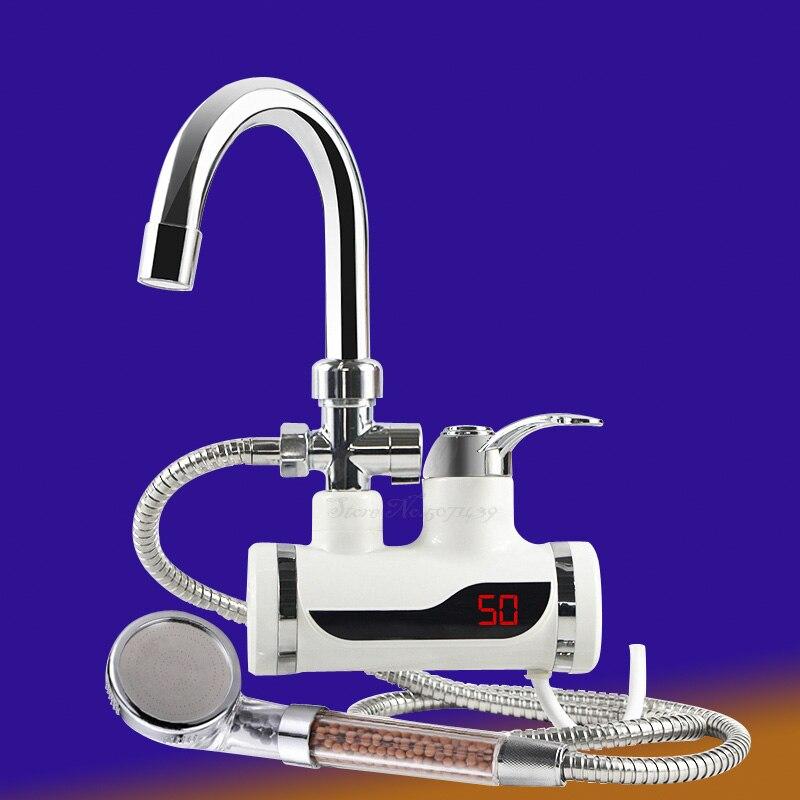 Chauffe-eau électrique instantané sans réservoir robinet cuisine chauffe-eau instantané avec affichage de la température de LED EU