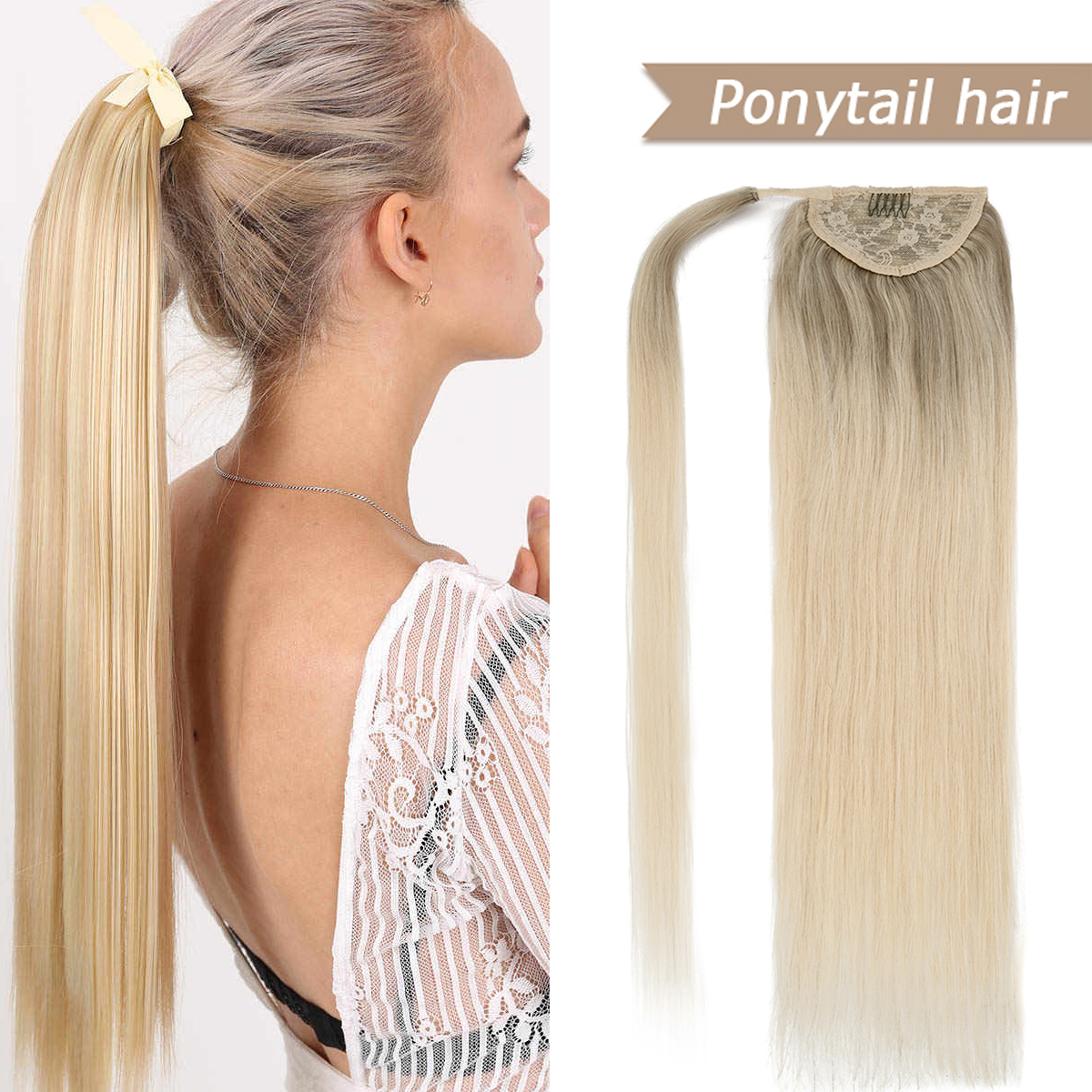 WIT Brazilian Natural Human Hair Balayage Ponytail Extensions Real Human Hair Pony tail Clip Ins Machine Made Remy Blonde Black