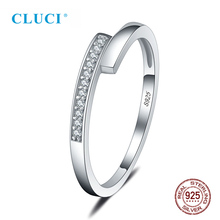 цена на CLUCI Simple Real Silver 925 Women Wedding Engagement Rings Jewelry Valentine Gift  Zircon Ring