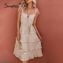 Simplee Light yellow aline boho ruffle sling women dress Office lace up ruffles female dress Summer elegant cotton sundress 2021