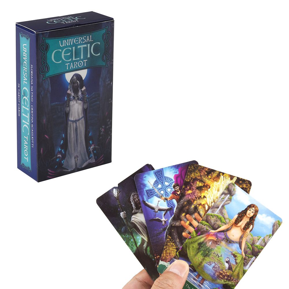 78pcs Universal Celtic Oracle Card Deck English Tarot Card Deck Guidebook Card Table Card Game Magical Fate Divination Card