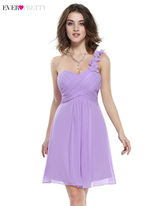 Image 5 - Élégant court robes de demoiselle dhonneur jamais jolie a ligne chérie une épaule Simple en mousseline de soie robes dinvité de mariage Sukienki 2020