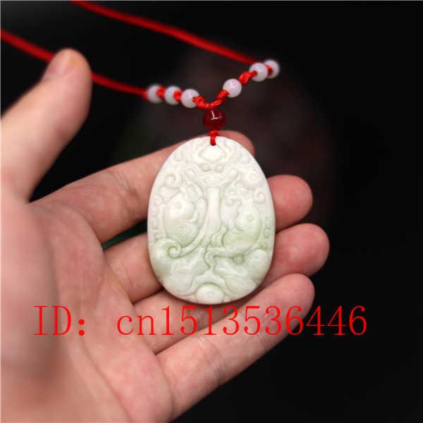 ナチュラルホワイト翡翠彫刻ラッキー魚座ヒスイのペンダント中国ネックレスチャームジュエリーファッションお守り幸運ギフト男性女性のための