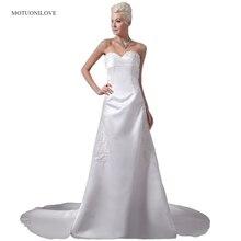 Sweetheart Satin A Line Wedding Dresses Lace Appliqued Beaded New Arrival Plus Size Wedding Gowns Bride Dress vestidos de noiva цена и фото