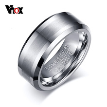 цена Cool Men Wedding Rings High Quality Tungsten Carbide Engagement Ring for Men Jewelry Wholesale 8MM Wide Vnox Rings Free Shipping онлайн в 2017 году
