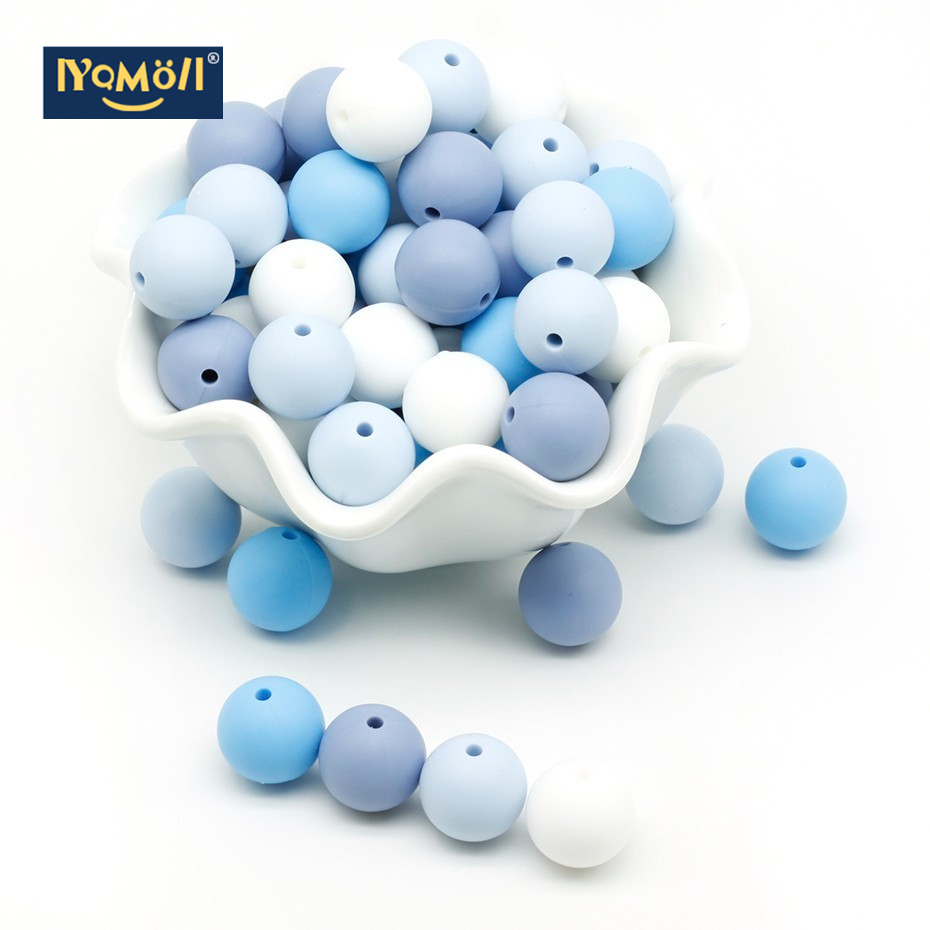 10Pcs Silicone Beads Baby Teething Chewable Teethers Safe Toys For Pacifier Chain Leash Decoration BPA Free 12mm