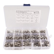 350 Pcs Stainless Steel Screws and Nuts M4 M5 Hex Socket Head Cap Screws Assortment Set Kit with Storage Box(China)