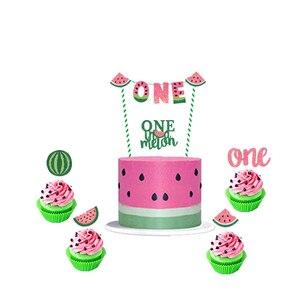 Image 2 - Leeiu owoce motyw arbuz Party dekoracji najlepszego z okazji urodzin banery arbuz ciasto wykaszarki Baby Shower 1st Birthday Party Supplies