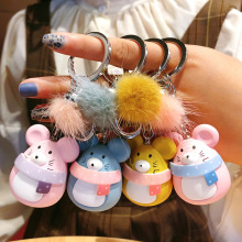 New Cute rat key chain Women Cartoon Mouse Fur ball backpack key ring car pendant cute pompom keychains bags gift porte clef