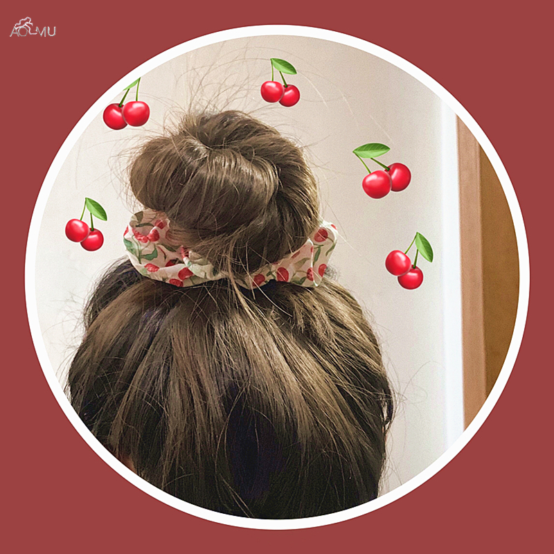 AOMU Autumn Winter Women Girls Cherry Elastic Hair Rope Ring Tie Scrunchie Ponytail Holder Hair Band Headband Hair Accessories
