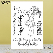 AZSG Lovely girl blow bubbles Clear Stamps/Seal For DIY Scrapbooking/Card Making/Album Decorative Silicon Stamp Crafts